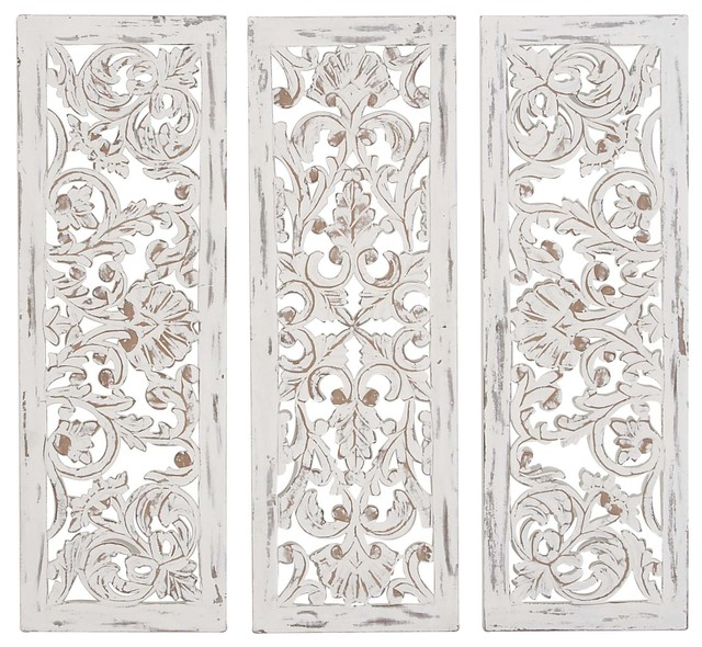 Rustic Carved Wood Ornate Wall Panels, 3-Piece Set.