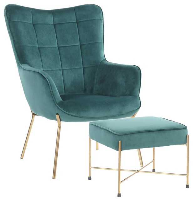 Izzy Contemporary Lounge Chair/Ottoman Set, Gold Metal/Green Velvet Fabric