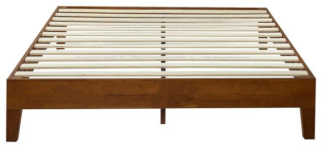 Modern Low Profile Solid Wood Platform Bed Frame, Cherry Finish.