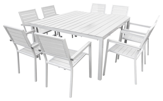Superbe Outdoor Patio Furniture Aluminum 9 Piece Square Dining Table And Chairs Set