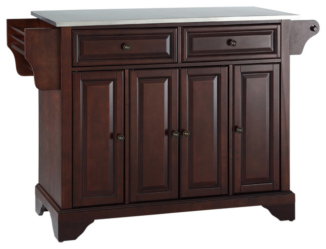 Lafayette Stainless Steel Top Kitchen Island, Vintage Mahogany Finish.
