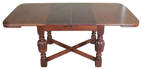 Antique English Solid Oak 6ft Dining Table W 2 Leaves