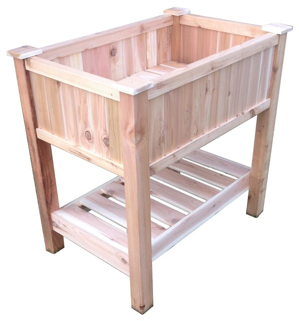 Cedar Raised Container Garden Planter With Bottom Shelf