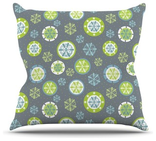 "Julie Hamilton ""Snowflake Slate"" Winter Throw Pillow, Outdoor, 26""x26"""