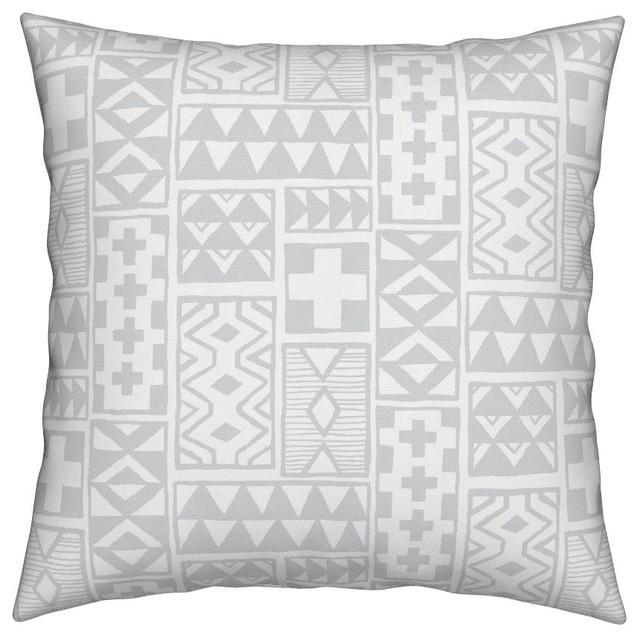 Geometric Gray Tribal Patchwork Zigzag Throw Pillow