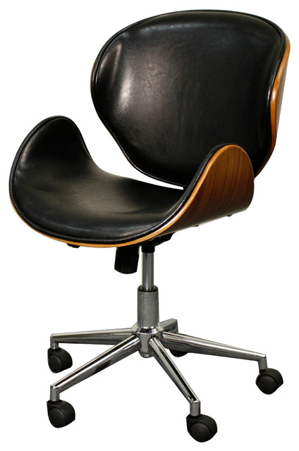 Peachy Zenon Desk Chair Black And Walnut Interior Design Ideas Gentotryabchikinfo