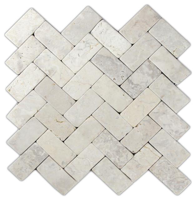 "11""x12"" Cream Herringbone Stone Mosaic Tile"