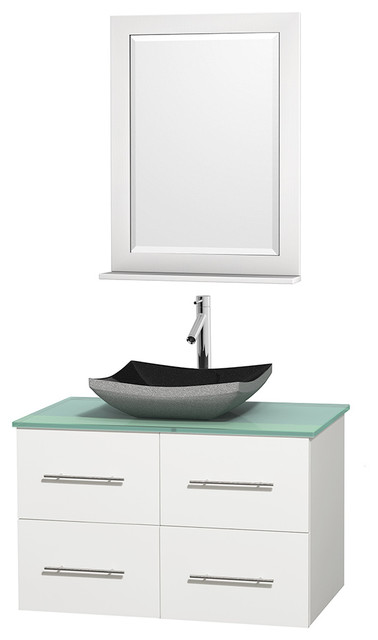 Centra 36 White Single Vanity Green Glass Top Altair Black Granite Si