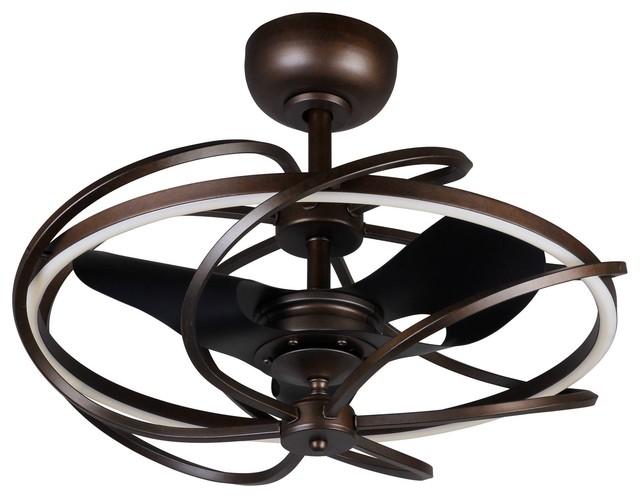 "27"" Reversible Led Ceiling Fan, Bronze."