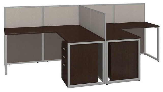 Easy Office 60w Two Person L Shaped Desk Open With Mobile File Cabinets