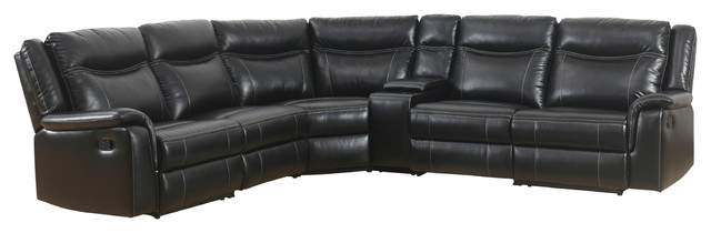 Surprising Abbyson Living Dorey Reclining Sectional With Console Black Ibusinesslaw Wood Chair Design Ideas Ibusinesslaworg