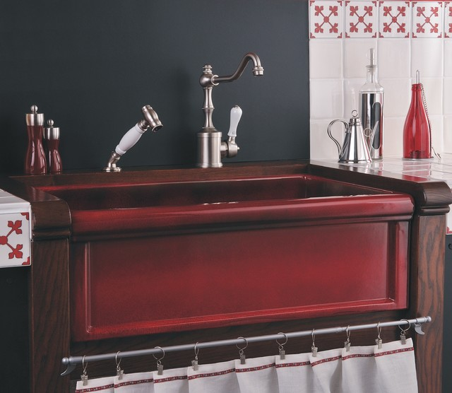 herbeau red boreal fireclay farmhouse sink farmhouse kitchen rh houzz com kitchen sink red wine blend kitchen sink red table wine
