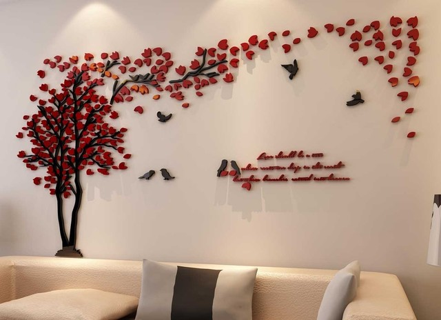 3d couple tree wall murals for living room bedroom sofa backdrop wall decals - Designer Wall Stickers