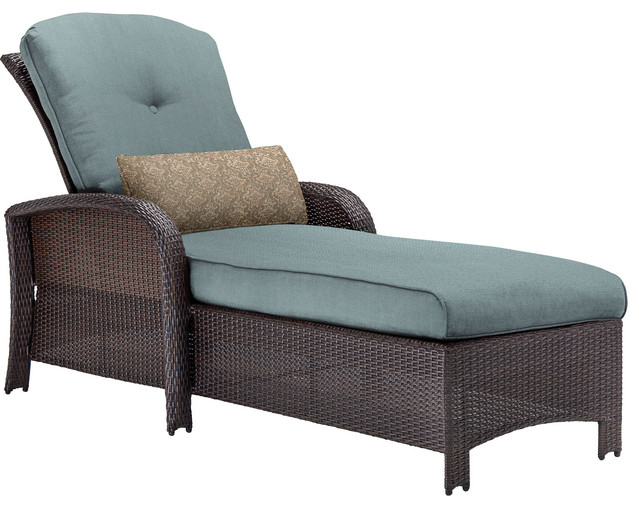 Strathmere chaise lounge chair brown and ocean blue for Blue leather chaise lounge