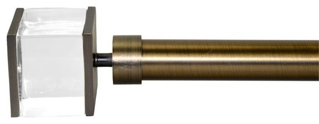 Versailles Sleek Rod Set With Quadra Finial, Rubbed Matte Brass.
