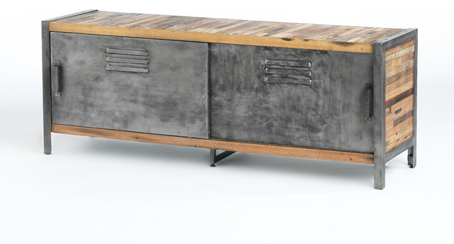 Locker Style Sliding Door TV Unit Made of Metal and Recycled Wood from Old Fishi - Industrial ...