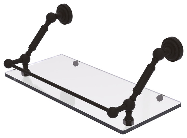 "Dottingham 18"" Floating Glass Shelf With Gallery Rail, Oil Rubbed Bronze."
