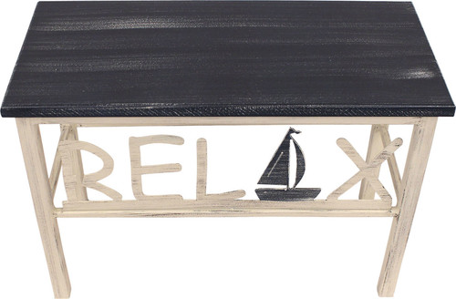 Plain Wooden Top Relax Bench, Sailboat Accent, Cottage, Navy, 24