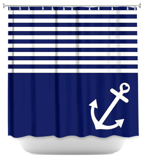 Nice Shower Curtain Unique From DiaNoche Designs   Navy Blue Love Anchor  Nautical Beach Style