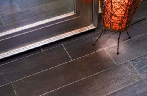 . Porcelain wood look tiles or laminate wood floors