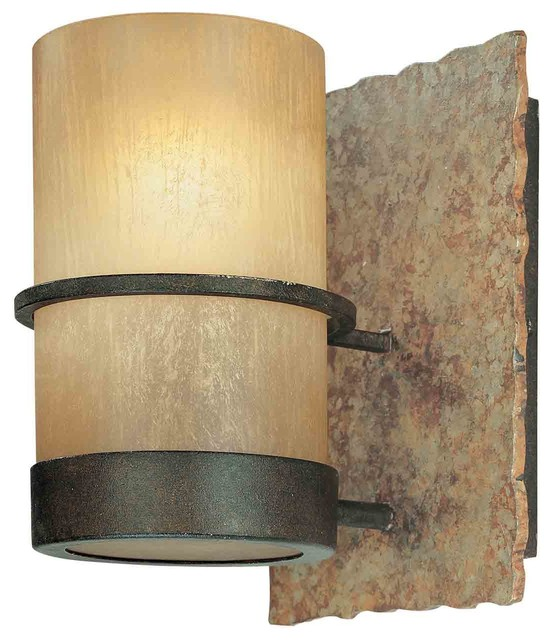 1 Light Standard Bulb Wall Sconce, Bamboo Bronze - Rustic - Wall Sconces - by 1800Lighting