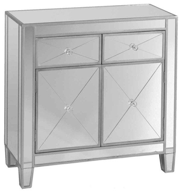 Contemporary Mirrored Cabinet Accent Chests And Cabinets