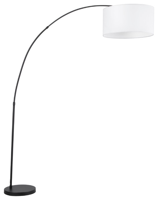 Salon Contemporary Floor Lamp With Black Base And White Shade.