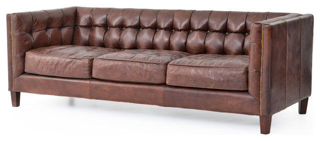Christopher Rustic Lodge Tufted Straight Back Brown Leather Sofa