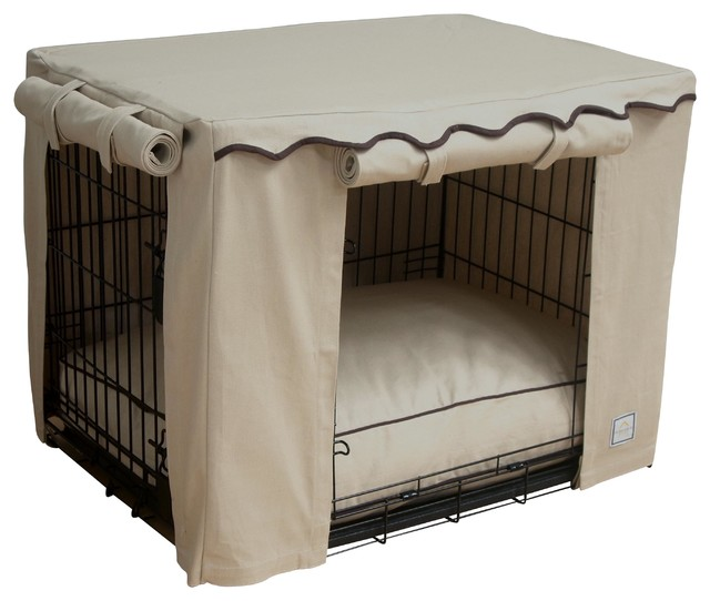 Dog Crate Covers stone beige crate cover, small - traditional - dog kennels and