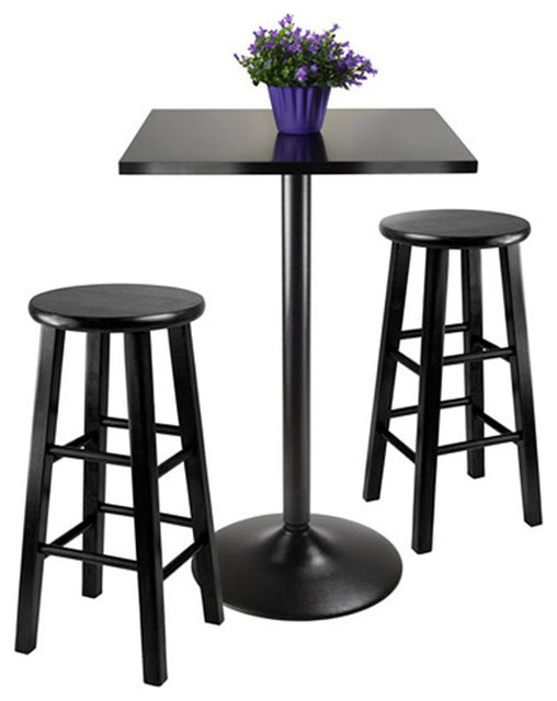 Winsome Obsidian 3 Piece Pub Table With 24 Inch Stools In Black  Transitional Indoor