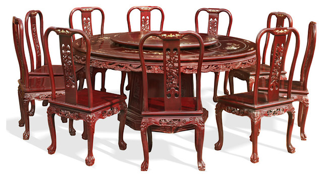 """72"""" Mother Of Pearl Inlaid Round Table With 10 Chairs."""