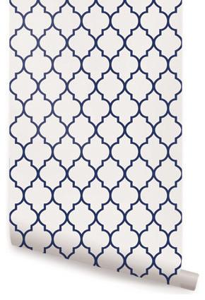 Moroccan Small Pattern Wallpaper Navy 2x4 Mediterranean