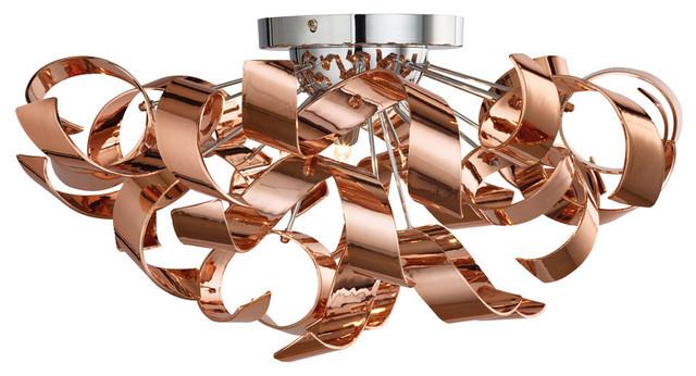 Lyndsay 3 Light Semi Flush Ceiling Light, Copper