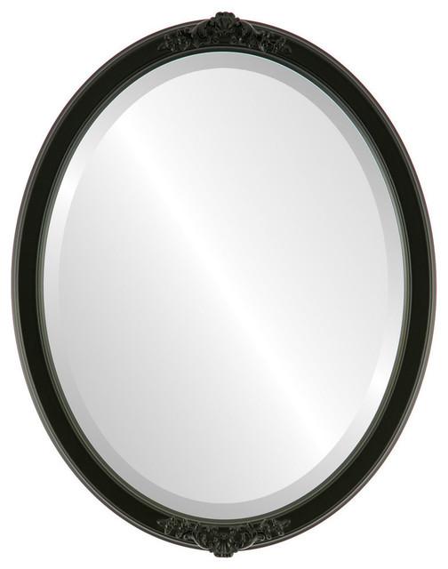 "Athena Framed Oval Mirror In Matte Black, 13""x17""."