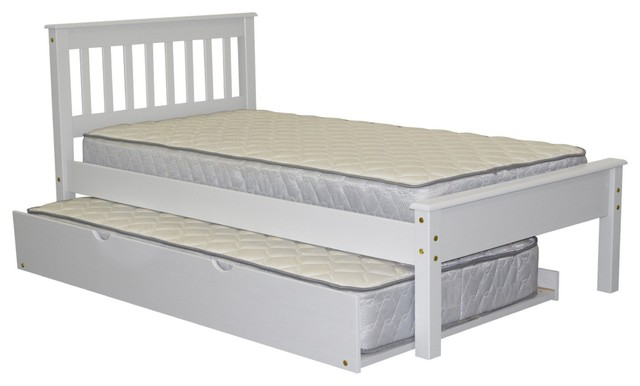 Bedz King Mission Style Twin Bed With Twin Trundle, White.