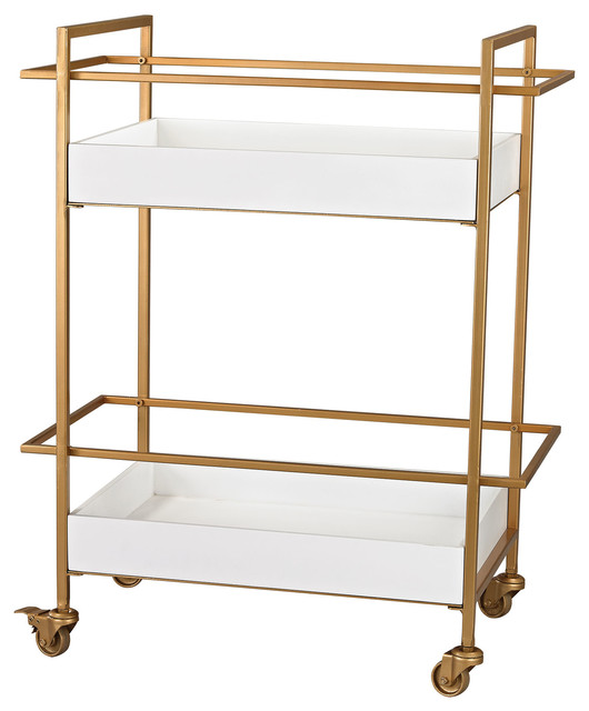 Sterling Industries Gold And White Bar Cart Contemporary