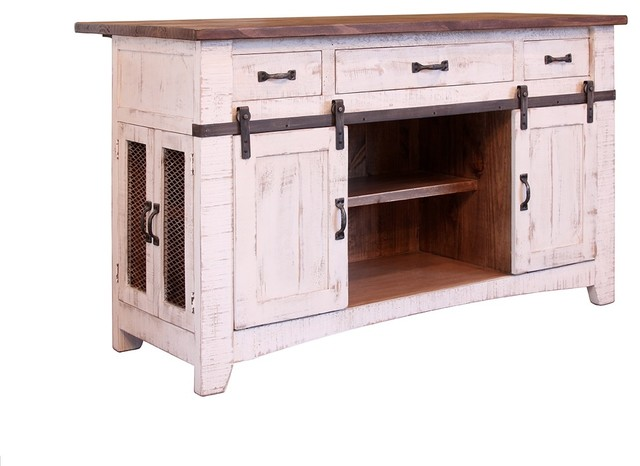 Anton Handmade Fully Built Wood Furniture Kitchen Island, White