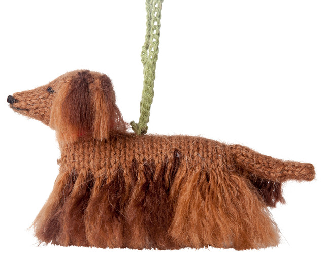 Hand-Knit Long Haired Dachshund Ornament