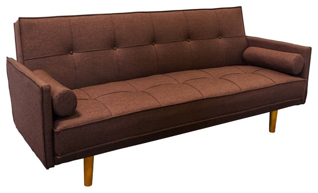 Midcentury Convertible Sofa Bed Futon, Brown