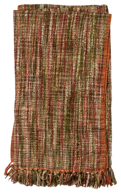 "Hana Contemporary Handcrafted Throw, Red, Green, 4&x27;2""x5&x27;."