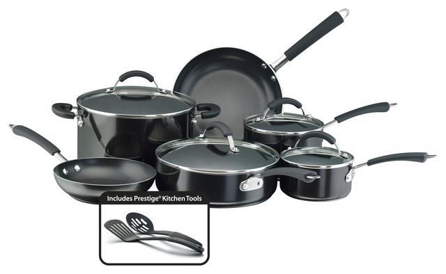 Farberware Millennium Colors Nonstick Aluminum 12-Piece Cookware Set, Black.