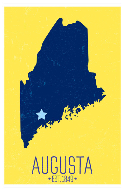 Augusta Maine Capital Pride State Outline Matte Poster 24