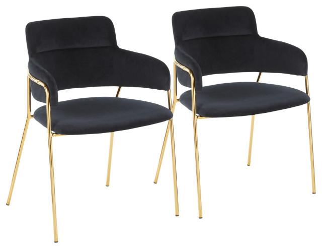Napoli Chair, Set of 2, Gold Metal, Black Velvet