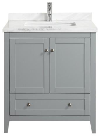 "Eviva Lime 30"" Bathroom Vanity With Top, Gray."
