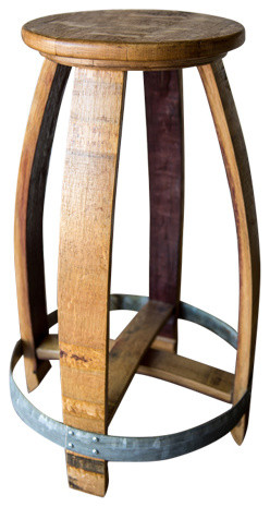 Wine Barrel Counter Stool Natural Finish Rustic Bar