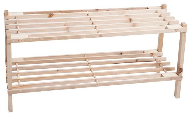 2-Tier Wood Storage Shoe Rack By Lavish Home.