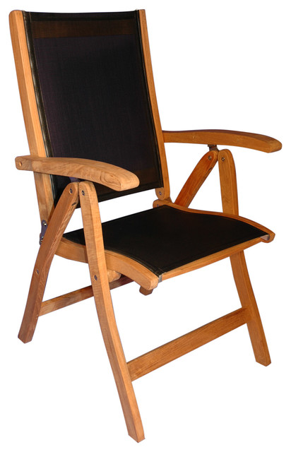 Teak Recliner Sling Black Rustic Outdoor Folding Chairs