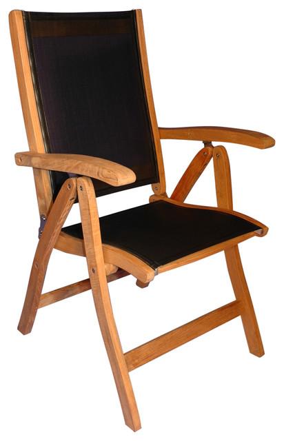 Teak Sling Black Rustic Outdoor Folding Chairs by Goldenteak