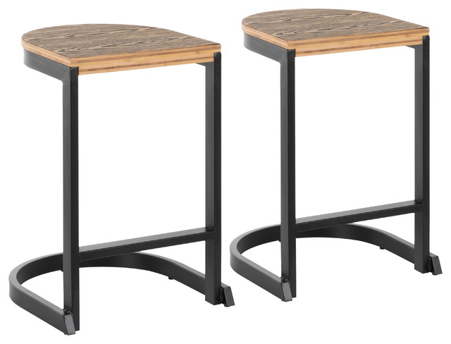 Stupendous Lumisource Demi Counter Stool Black And Wood Set Of 2 Squirreltailoven Fun Painted Chair Ideas Images Squirreltailovenorg