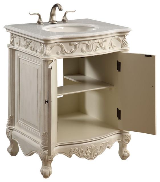 """Elegant Lighting Vanity Cabinet 2-Door 27""""x21""""x35"""", Antique White"""